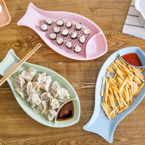 Creative Durable Environmentally Candy Color Fish Shape Dumpling Plate FW