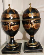 John Richard Collections Pair Hand-Painted Black~Gold Toleware Mantel Vases/Urns