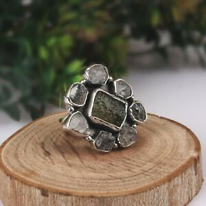 Raw Herkimer and Czech Moldavite Ring Sterling Silver Statement Boho Rings