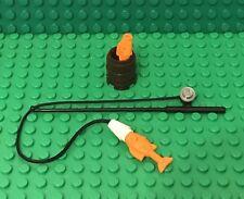 Lego MOC Mini Figures Fishing Pole / Rod W/ X2 Orange Fish And Dark Brown Barrel
