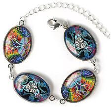 Celtic Irish Stained Glass Raven & Peacock Design Sterling Silver Charm Bracelet