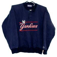 Vintage Starter New York Yankees Blue Embroidered Men's Henley Sweatshirt Small