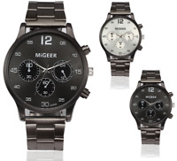 Migeer Mens Pilot Navigator Aviation 40mm Stainless Steel Quartz Sports Watch