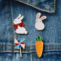 Cartoon Rabbit Piercing Brooch Pin Enamel Collar Badge Corsage Women Jewellery