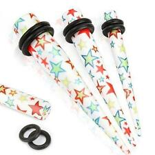 Earrings Solid Acrylic Multi Colored Star Taper plug 0 gauge - Sold as pair