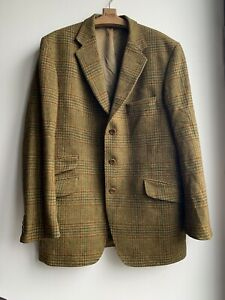 MAGEE 1866 Vtg GREEN SIZE 44 GREEN TWEED Check JACKET Hand Woven Wool Mohair