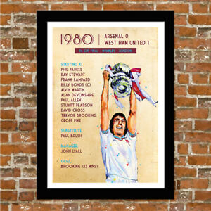 WEST HAM UNITED - 1980 FA CUP FINAL - FRAMED MATCH PRINT