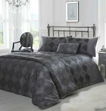 DOUBLE BED DUVET COVER SET CLAUDE BLACK SILVER CIRCLES FLORAL TRIBAL DESIGN