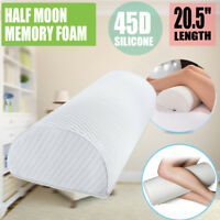 Half Moon Memory Foam Cushion Bed Neck Leg Knee Pillow Support w Washable Covers
