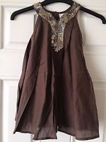 Signature Next Brown Dress Gold Sequins Party Dress Age 4 Years B8