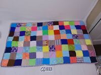 "PATCHWORK  BABY QUILT 38"" X 21"" MULTI COLOR RETRO 1960'S PATTERN PATCH WORK"