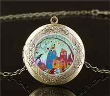 Vintage Birds ,City ,Tree Photo Cabochon Glass Brass Locket Pendant Necklace