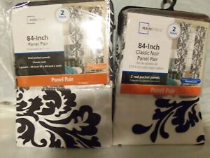 "2 NEW Pairs ""Classic Noir"" Curtain Drapes 84"" Long"
