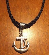 collier corde noir 64 cm avec pendentif ancre 23x20 mm