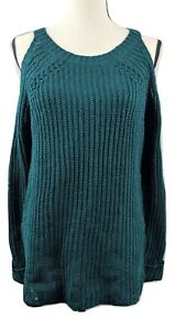 Hippie Rose Juniors L Sweater Jewel Green Cold Shoulder Cable Knit Top