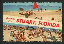 Postcard Greetings from Florida FL Stuart sunbathers swimming beach chrome