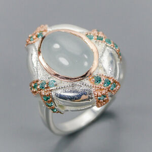 Aquamarine Ring Silver 925 Sterling Handmade Jewelry Size 8 /R134319