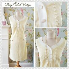 Vintage 60s Retro White Textured Lemon Dress Jackie O Mod Scooter Twiggy UK16-18