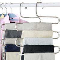 Edelstahl Kleiderbügel Hosenbügel Hosenspanner Metallbügel für 5 Hosen @EC