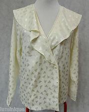 **SPORTSCRAFT** EUC Vintage White Blouse 12 M Stunning White Shiny Long Sleeves