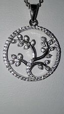 925 STERLING SILVER  STIMULATED DIAMOND TREE OF LIFE PENDANT NECKLACE