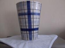 Retro Habitat blue & white striped/check large hand painted vase. Made it Italy
