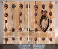 Medieval Curtains Rusty Spanish Entrance Window Drapes 2 Panel Set 108x84 Inches