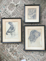 Antique Set of Original David Fredenthal Drawings - Boxer, Portrait, Card Game