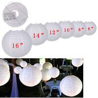 "10Pcs White Round Paper Lanterns Wedding Party Decor Lamp 6"" 8"" 10"" 12"" 14"" 16"""