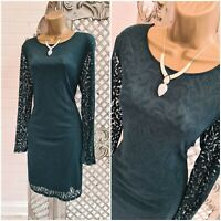 Oasis  UK L Bottle Green Sheer Lined Lace Flourish Mini Pencil Bodycon Dress