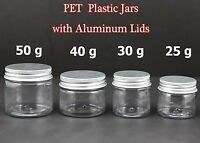 Empty PET Jars Aluminum Lids Clear Silver Plastic Cosmetic Cream 25/30/40/50ml