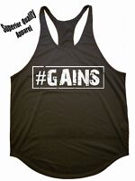 Iron Gods #GAINS Workout Y-Back Stringer Tank Top Weight Training Bodybuilding