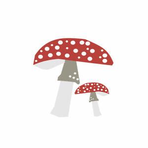 Set of 2 Mushroom print Iron on Screen Print Transfers for Fabrics cottagecore