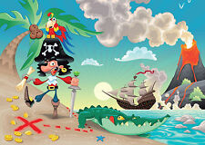"Kids Wallpaper-Pirata Y Parrot ""piratas"" - Mural De Pared Dormitorio Decoración"