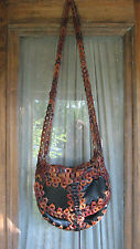 Vintage 60s 70s Leather Woven Chain Link Purse Messenger Bag Hippie Boho Large