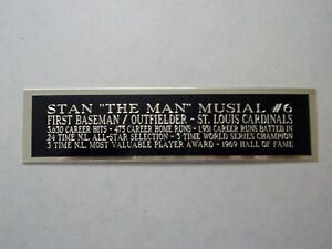 Stan Musial Cardinals Autograph Nameplate For A Signed Baseball Bat Case 1.5 X 8