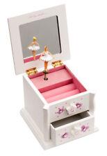 Girls Small White Beautiful Ballet Dance Wooden Music Jewellery Box By Katz JB14
