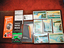 1940'S NIAGARA FALLS NEW YORK POSTCARDS, PAMPLETS & MAP TO & FROM WORLD'S FAIR