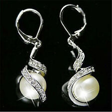 Fashion Women Girls Pearl Dangle Crystal Earrings Gold Silver Plated Ear stud