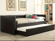 NEW JOHANNA CONTEMPORARY BLACK BYCAST LEATHER DAY BED w/ UNDER BED TRUNDLE