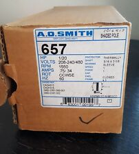 #657  1/20 HP, 1550 RPM .75/.34 AMP 208 volts NEW old stock AO SMITH MOTOR
