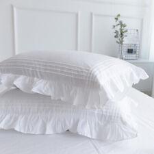 2pcs 100% Cotton Pillowcase Striped Pillow Slip Frill Only Cover Bedding White