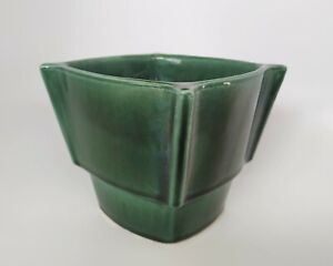 Vintage MCM Hull Pottery Planter #426 USA Green drip glaze Square pinched corner
