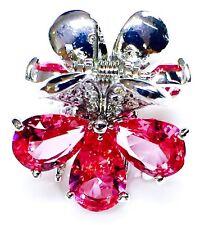 QUALITY Hair Claw Clip using Swarovski Crystal Hairpin Wedding Flower Pink 4