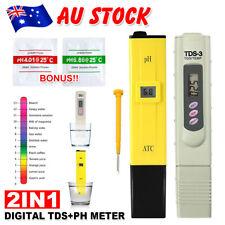 AU Digital Ph Meter+TDS Tester Aquarium Pool Hydroponic Water Monitor 0-9999 PPM