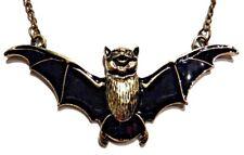 VAMPIRE BAT NECKLACE black brass gold enamel wings cute gothic goth pendant C3