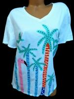 Sun bay white multicolor palms print short sleeves embellished tee top 1X