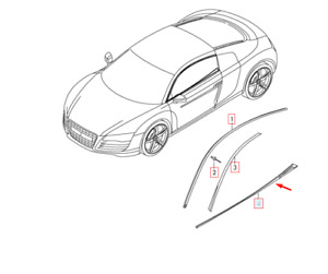 Audi R8 42 Front Right Door Slot Strip 420853268C4PK NEW GENUINE 2015