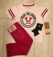 NEW TRUE RELIGION Baby/Toddler BOY VARSITY TEE W/RED JEANS SET $79ea 1-24M, 2-4T