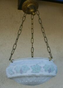 Antique Large Brass Glass Chandelier Ceiling Reverse Painted Bowl Shade Fixture